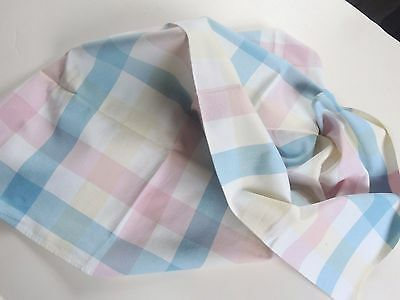 Swedish vintage 1950s large cotton tablecloth, with white, pink and blue checks