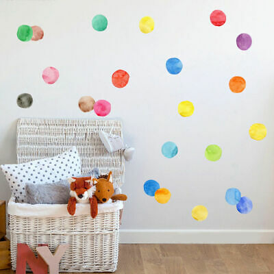 30 Pcs Watercolour Dots Wall Stickers Nursery Decor Removable Vinyl Decal Art