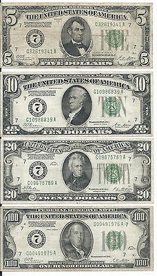 Set of 4 rare-5$, 10$, 20$, 100$ 1928 Numerical 7 Redeemable in gold, F-XF -00B