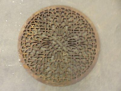 Large Antique Cast Iron Round Cold Air Return Grate Grill Vent 326-17R