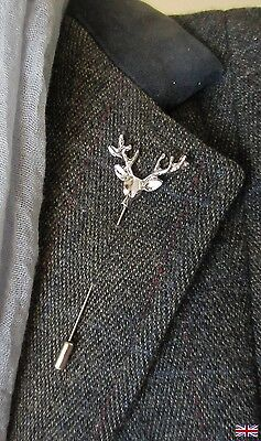 Stag, deer silver tone brooch, lapel pin, hat pin. Showing, wedding etc