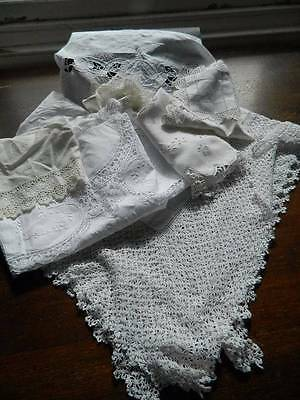 Bundle 10 items vintage white table linen lace & embroidery 4 cloths topper mats