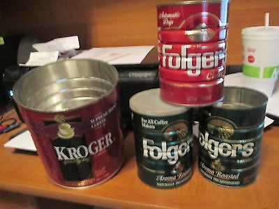 (4) Old Empty COFFEE KROGER (3) FOLGERS Aroma Roasted Decaf Coffee Can