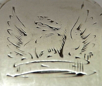 Four Spoons Eagle Crest Sterling Silver Bright Cut Bottom Marked  R Rugg 1770