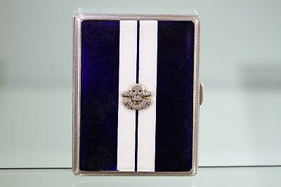Royal Lancers 'Death or Glory' Silver & Enamel Cigarette case dated  1932