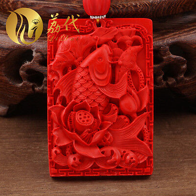 Natural Red Cinnabar Carving Lacquer Chinese Carp Lotus Pendant Beads Necklace