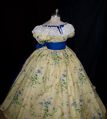 READY-Victorian Gone with wind-floral dress 6-8-10-12-14 Sm M L Reenactment NEW