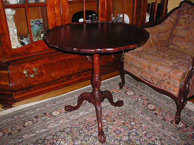 "Stunning 28x28"" antique/1940 roundChippendale style tilt-top table mahogany made"