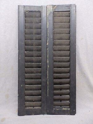 Antique Pair Window Wood Louvered Shutter Shabby Old Chic Vtg 32x8 335-17R