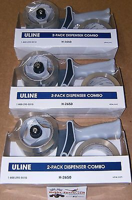 """Lot Of (3) Uline 2"""" x 55 yards Clear Tape - 2 rolls with Dispenser Pack H-2650"""