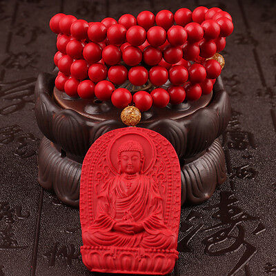 Natural Cinnabar Carving Chinese Amitabha Buddha Shakyamuni Pendant Necklace