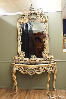 Superior Mansion Sized Marble French Louis XV Console Table with Mirror Foyer