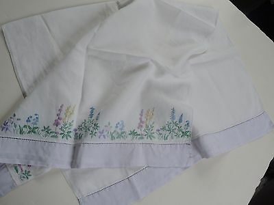 """Swedish vintage 1940s embroidered cotton """"side"""" tablecloth with a lilac border"""