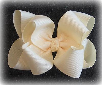 "Girls hairbows Big hair bows double layer boutique bow Ivory Headband Clip 4"" 5"""