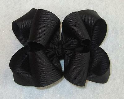 """Girls hairbows Big hair bows double layer boutique bow Black Headband Clip 4"""" 5"""""""
