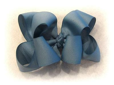 Girls hairbows Big hair bows double layer boutique bow Antique Blue Large Clip