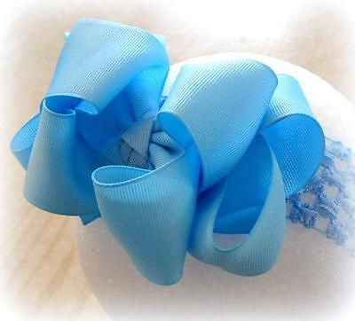 Girls hairbows Big hair bows double layer boutique bow Baby Blue Large Clip 4""