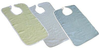 1 pc NEW ADULT TERRY CLOTH BIB W/ VELCROE CLOSURES BLUE, YELLOW OR WHITE 18X30