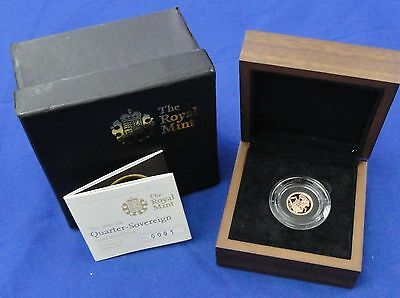2010 Great Britain Quarter Sovereign Gold Proof Coin Low Cert #0001 Royal Mint