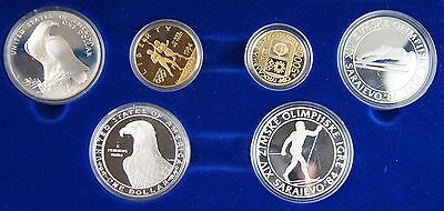 1984 Olympic Games 6 Coin $10 / 5000 Dinar Gold Silver Proof Set US & Yugoslavia