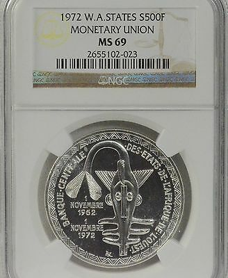 1972 500 Francs West African States Monetary Union SILVER Coin NGC MS 69