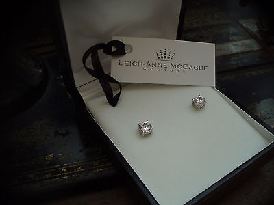 Man Made Brilliant Round Cut Diamond 1CT Stud Screw Back Earrings 925 Silver.