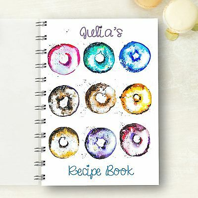 Personalised Recipe notebook Doughnut Recipe Journal, Foodie Cooks Lovely Gift