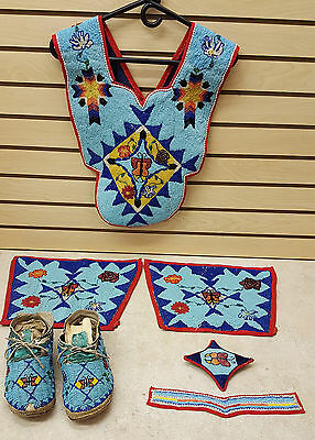 7 Pc. Hand Crafted Cut Beaded Butterfly Design Native American Indian Dance Set!