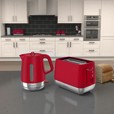 Morphy Richards Chroma Kettle & Toaster Set in Poppy RED