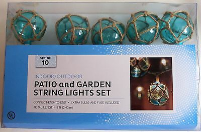Blue Rope Ball String Lights 10 Buoy Style Bulbs Nautical Patio Garden Decor New