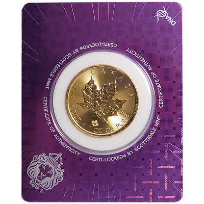 2017 $50 Gold Canadian Maple Leaf .9999 1 oz BU in Certi-Lock Assay