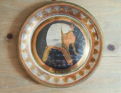 Vintage Egyptian Hand Made Plate / Wall Plaque Brass & Copper