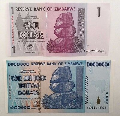 Zimbabwe One Hundred Trillion Dollars Fancy Serial Number + $1 Banknote  UNC