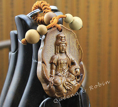 Wood Carving Craft Chinese Kwan Yin Statue Sculpture Amulet Pendant Key Chain