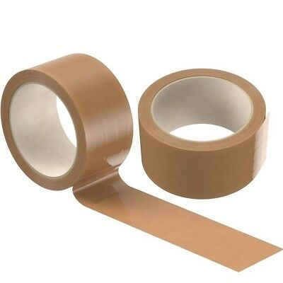 12 Rolls Brown Buff Strong  Parcel Tape Packing Sellotape Packaging 48Mm X 66M