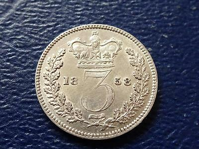 Queen Victoria Silver Threepence 1858 Very Nice  Great Britain Uk