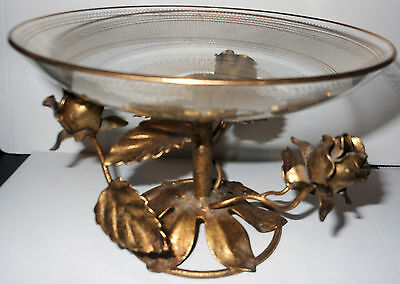 Lovely Vintage Gold Metal and Crystal Raised Candy Dish, Italian or French?