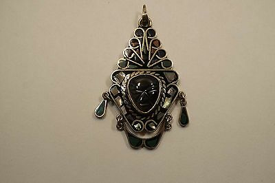 """Large Vintage Mexico Sterling Warrior Mask Inlay Pendant  3"""" Long 32 Gr.  A755"""