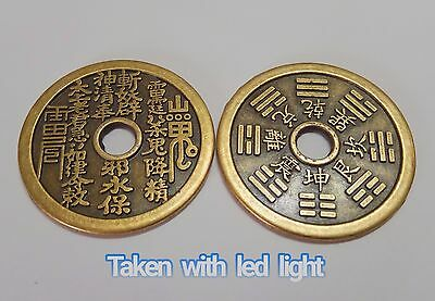 Old Chinese Bagua Talisman Feng Shui Bronze Lucky Coin Protect From Evil Spirits