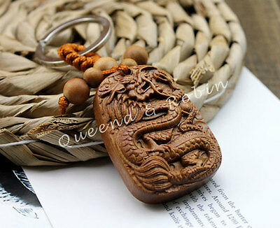 Wood Carving Craft Chinese Dragon Statue Sculpture Amulet Pendant Key Chain