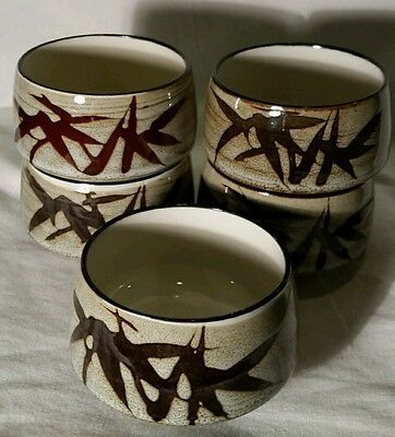 Vintage Set of 5 Green Tea Cups With Asian Design