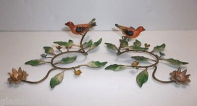 Vintage Italian Metal Toleware Candle Holder BIRDS Flowers Original Metal ITALY