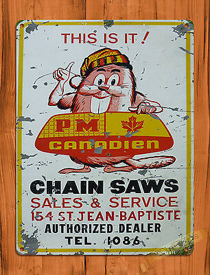"TIN-UPS TIN SIGN ""Canadian Chain Saws"" Vintage Rustic Wall Decor"