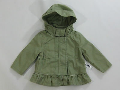 NWT Old Navy Toddler Girls Size 12-18 Months Olive Green Ruffle Fall Jacket Coat