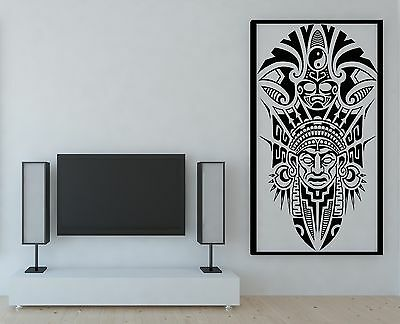 Vinyl Decal Wall Sticker Ancient Tribal Mask Mayan Indians (n708)