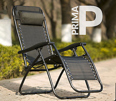 PRIMA Lightweight Outdoor Folding Camping & Garden Reclining Chair with Headrest