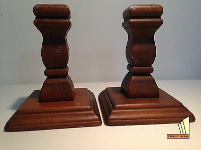 Retro Wooden Pair Candlesticks Wood Candle Stick Holders