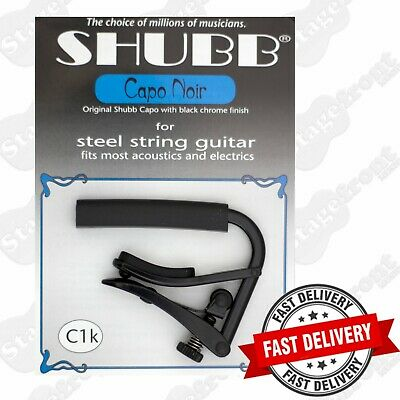 SHUBB C1k BLACK CAPO FOR STEEL STRING ACOUSTIC AND ELECTRIC GUITARS - USA MADE