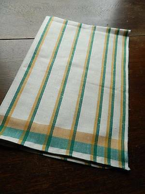 Vintage UNUSED Irish linen tea towel or drying cloth - green & yellow stripes