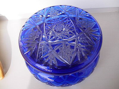 ANTIQUE  Cut to Clear Cobalt Blue Crystal  CZECHOSLOVAKIA  GLASS dresser box